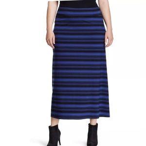 Ava & Viv Knit Striped Maxi Skirt X 14W Blue Black